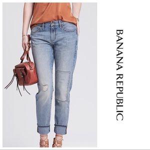Banana Republic Distressed Patch Boyfriend Jeans